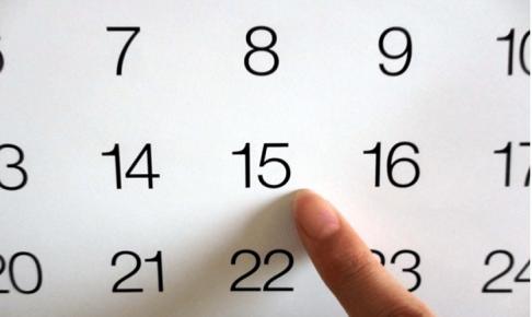 カレンダーに指差し